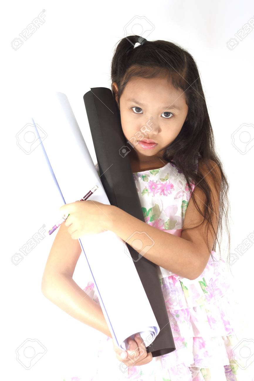 Child Girl Designer Or Architect On White Background Stock Photo   19400414