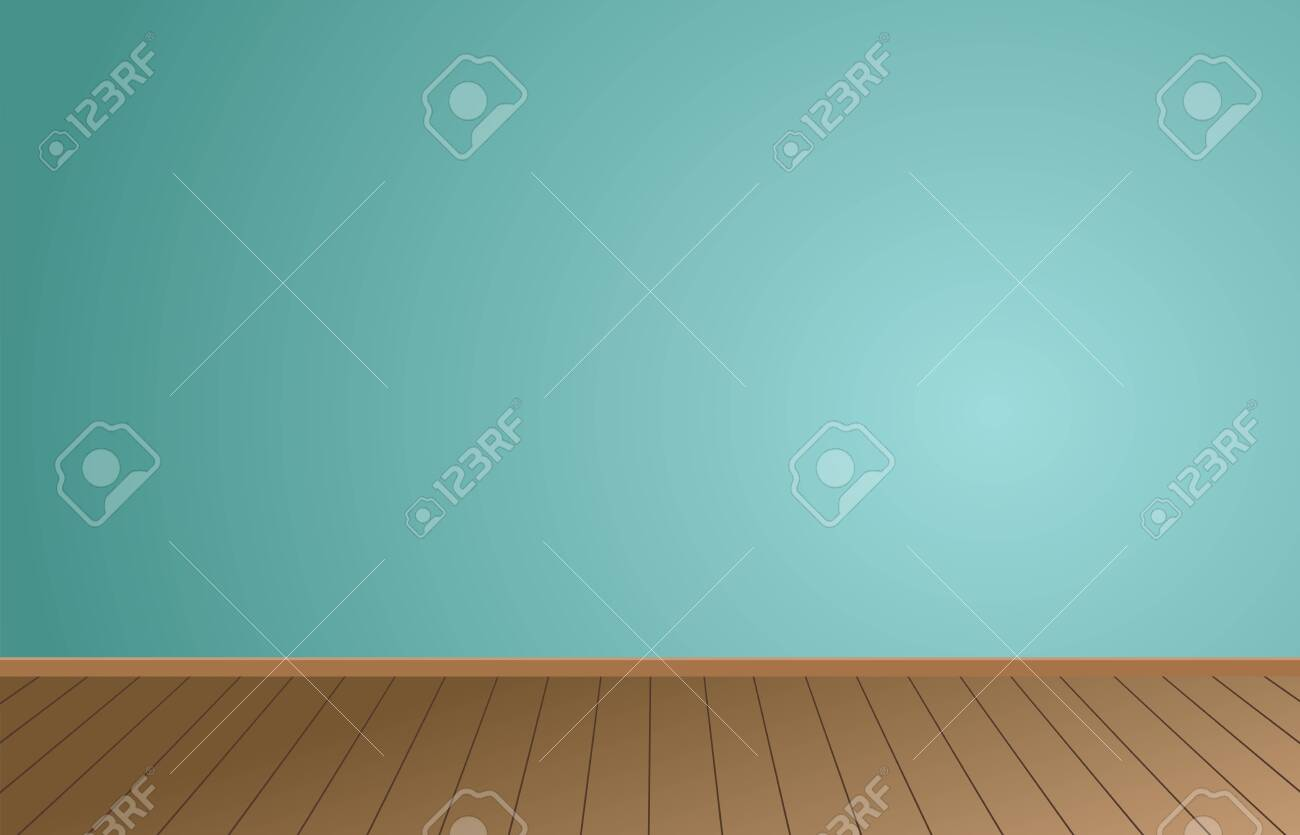 Empty Room background and Light Blue wall with Wooden floor.vector illustration. - 143752114