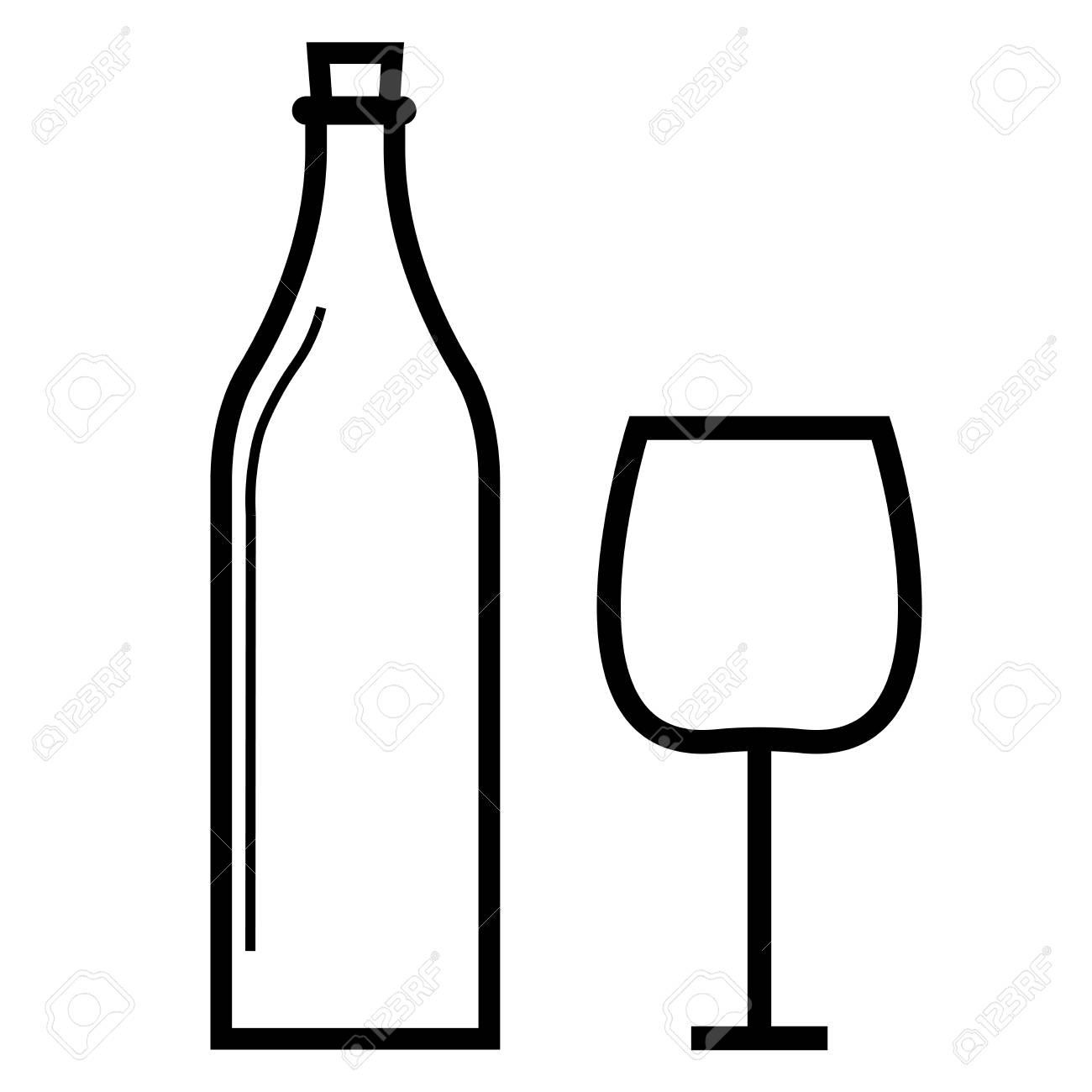 Bouteille de vin avec icône de verre à vin