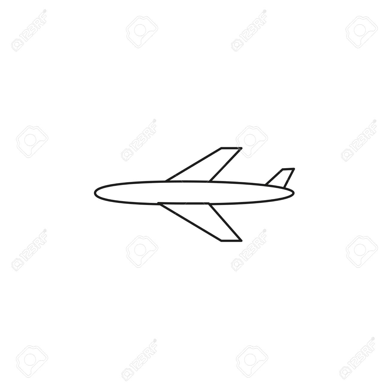 Plane Simple Line Vector Web Graphic Icon Royalty Free Cliparts
