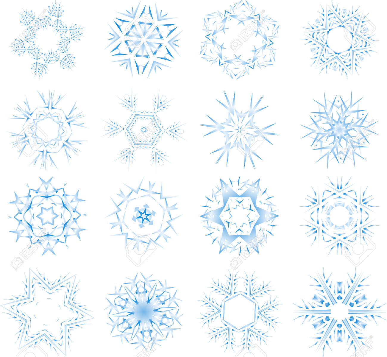 Set of different snow crystals Stock Vector - 3735026