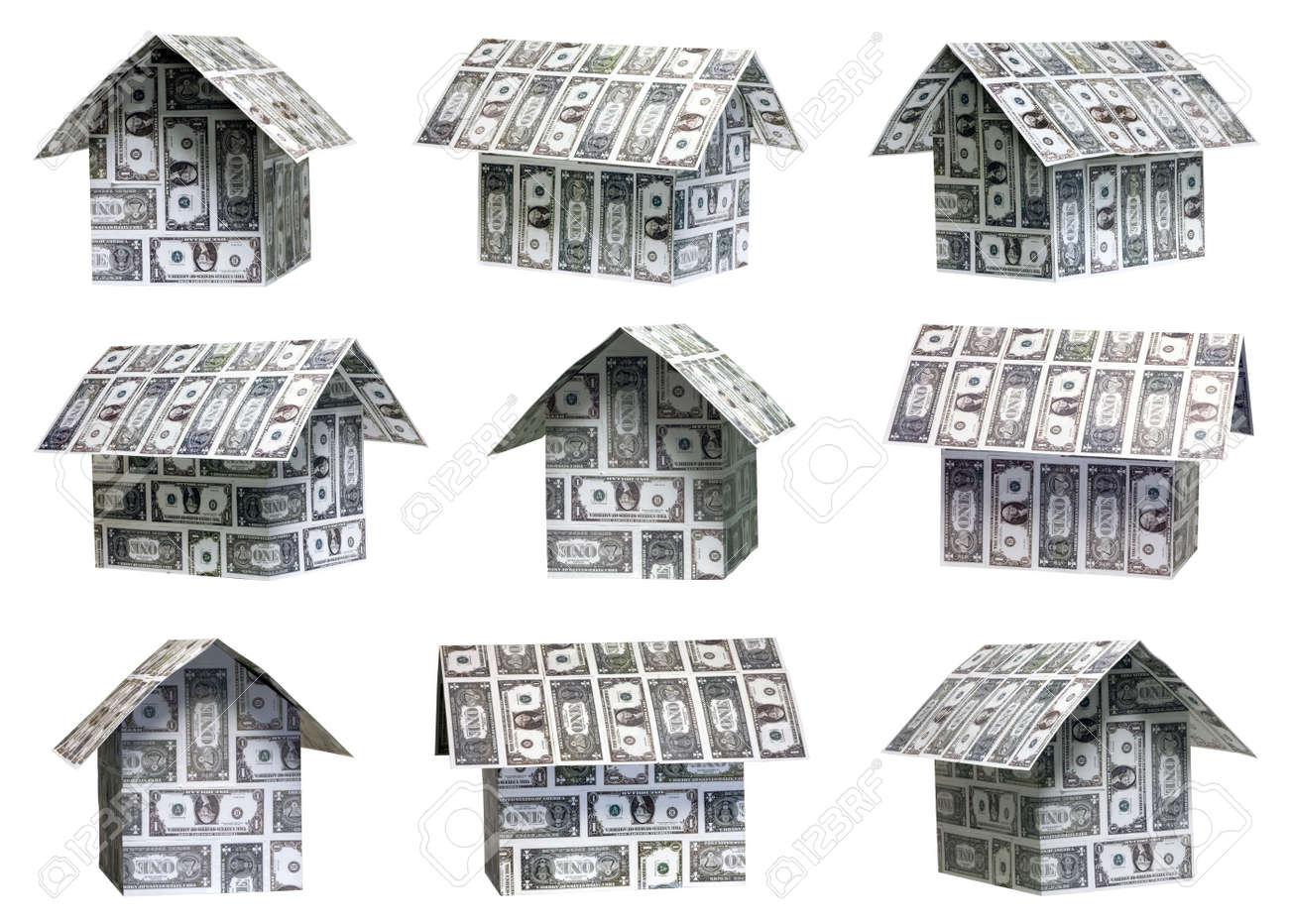 Nueve diferentes ángulos de las casas dólar Foto de archivo - 4410107