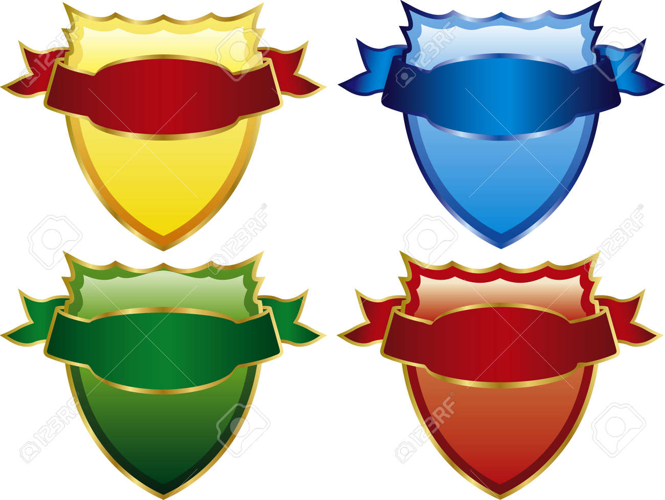 Vector illustration of four medieval shields is what you are looking for Stock Vector - 4865598