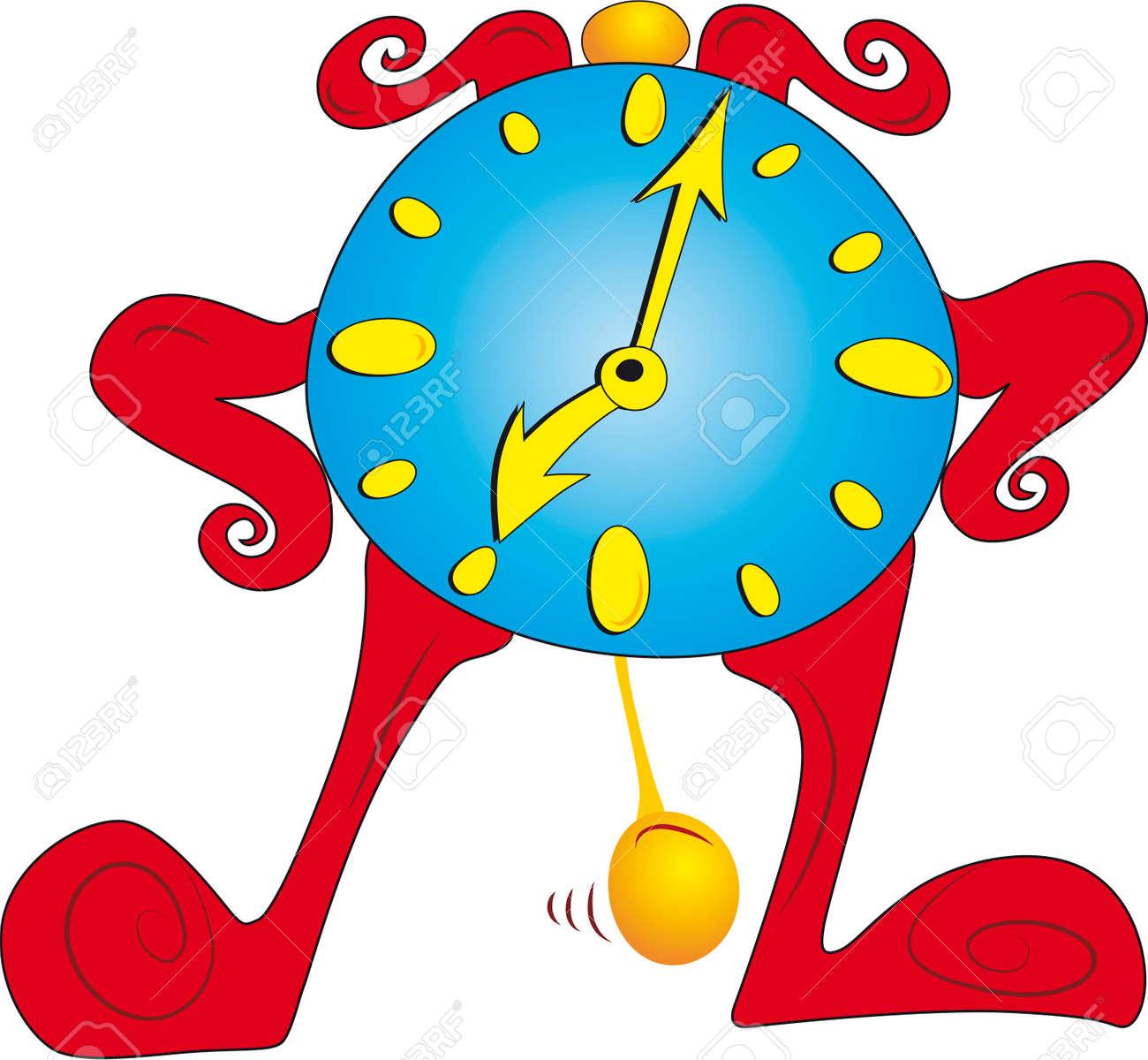 Old standing cartoon character clock Stock Vector - 5724734