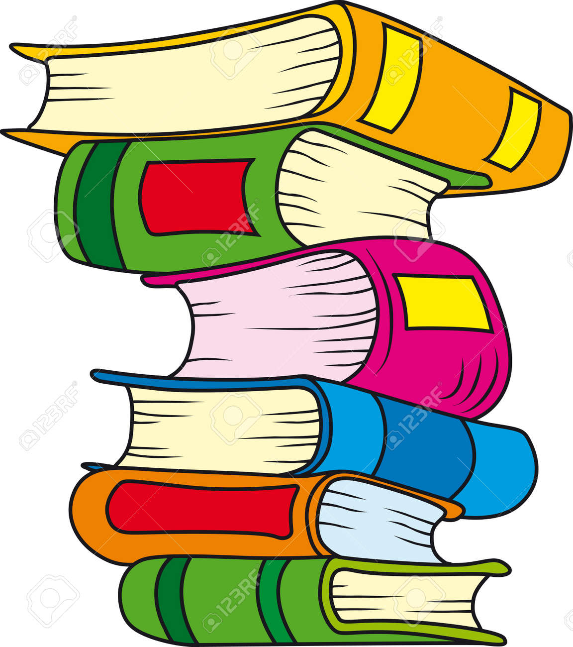illustration of six books in stack royalty free cliparts vectors rh 123rf com cartoon stack of books black and white cartoon picture of stack of books
