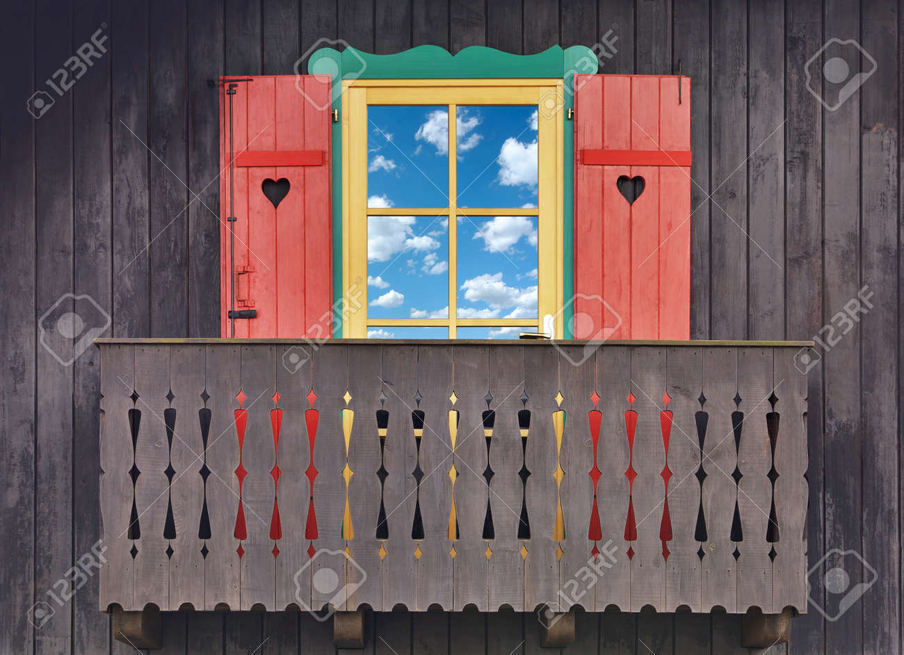 Wooden chalet balcony from Hansel and Gretel Stock Photo - 12905982