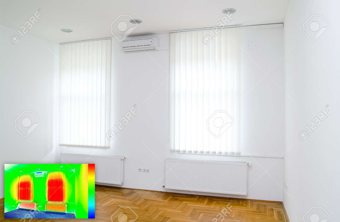 Picture in Picture Thermal Image of Empty Office Room Standard-Bild - 13506413