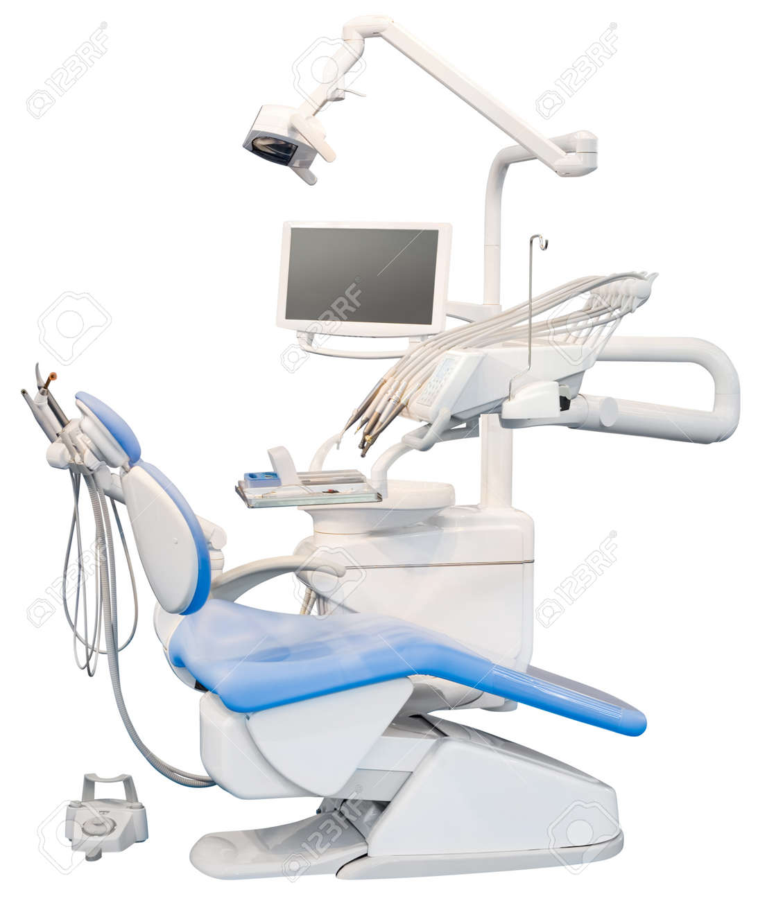 Blue Dental Chair Isolated with Clipping Path Standard-Bild - 15012853