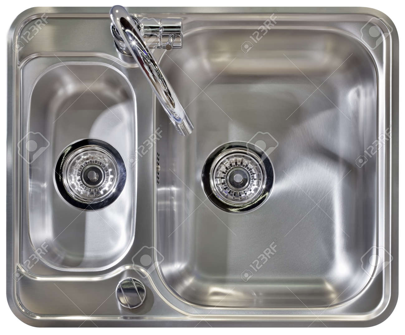 Stainless Water Tap and Wash Sinks Isolated Standard-Bild - 16261083