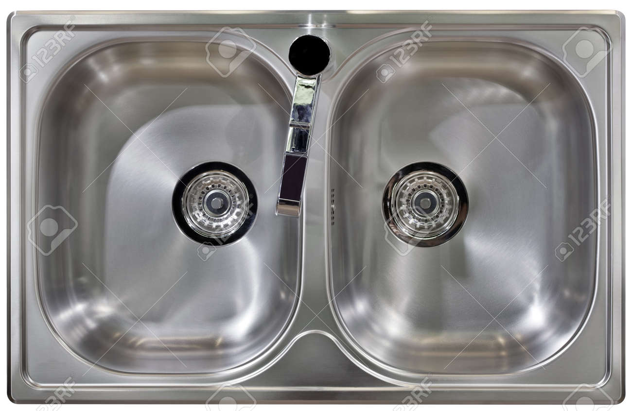 Stainless Water Tap and Wash Sinks Isolated with Clipping path Stock Photo - 18116173