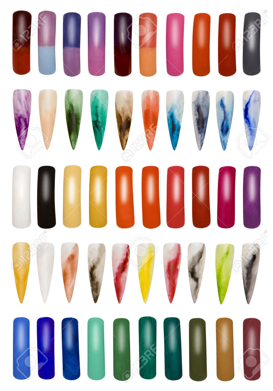 Big Collection of Artificial Finger Nails Isolated with Clipping Path Stock Photo - 18650301