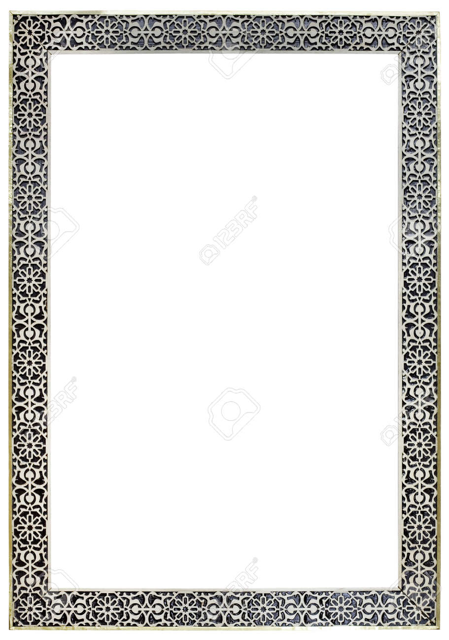 Empty Vitage Moroccan Pewter Mirror Frame Isolated with Clipping Paths Standard-Bild - 19142778