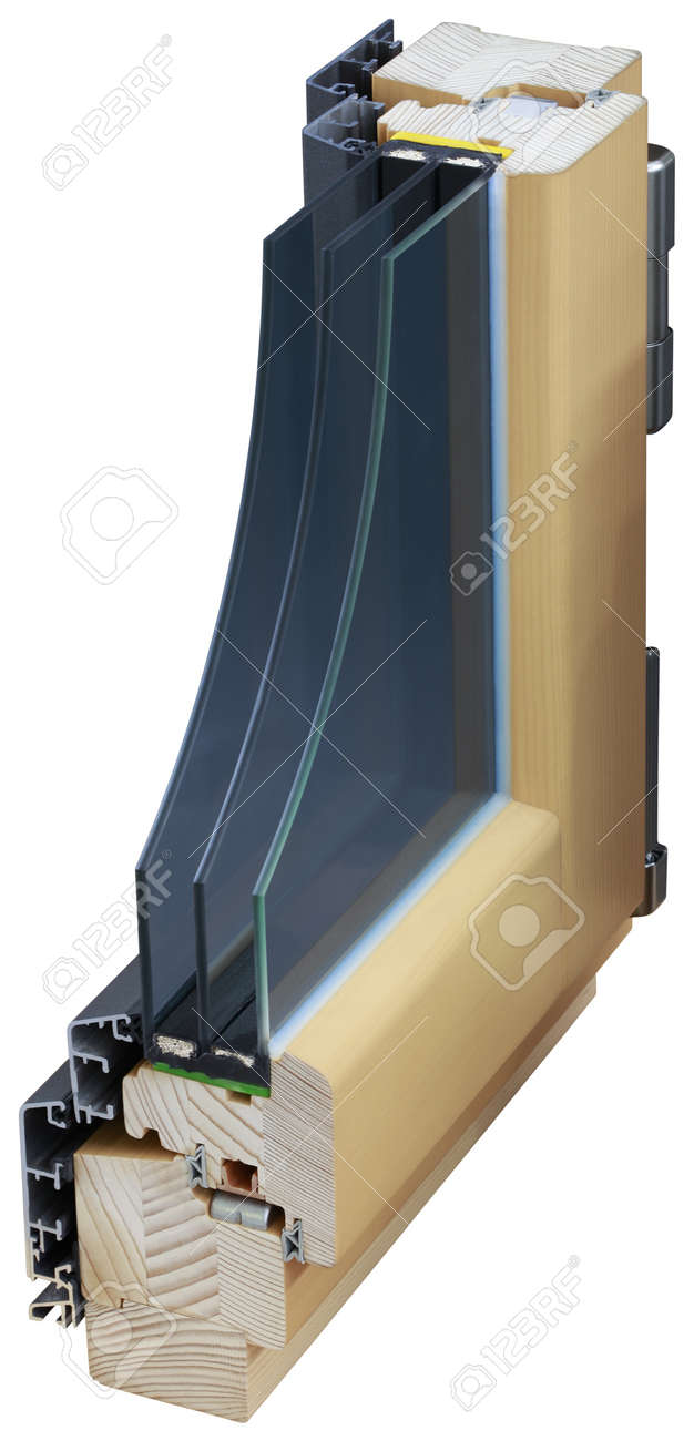 Detail of Cross Section of Window Isolated with Clipping Path Stock Photo - 19440656