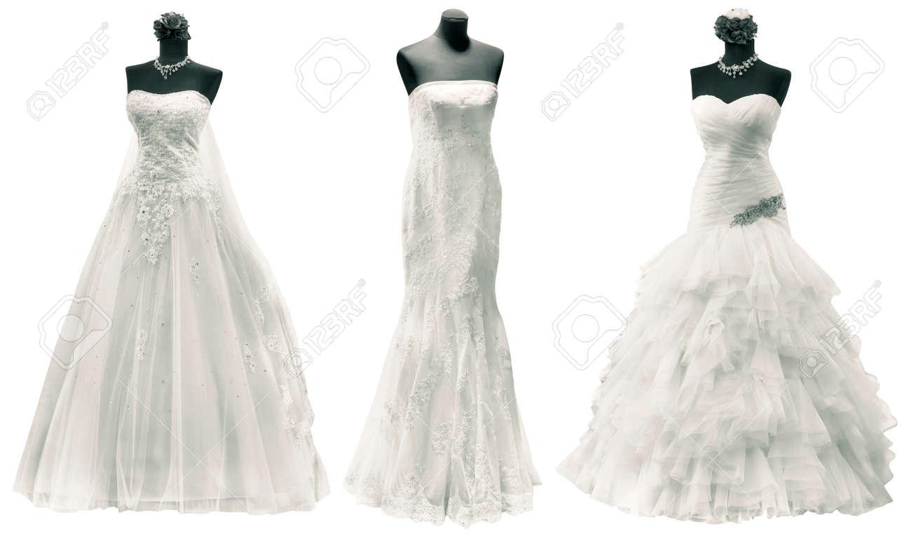 Three Wedding Dress Isolated with Clipping Path Standard-Bild - 24803203