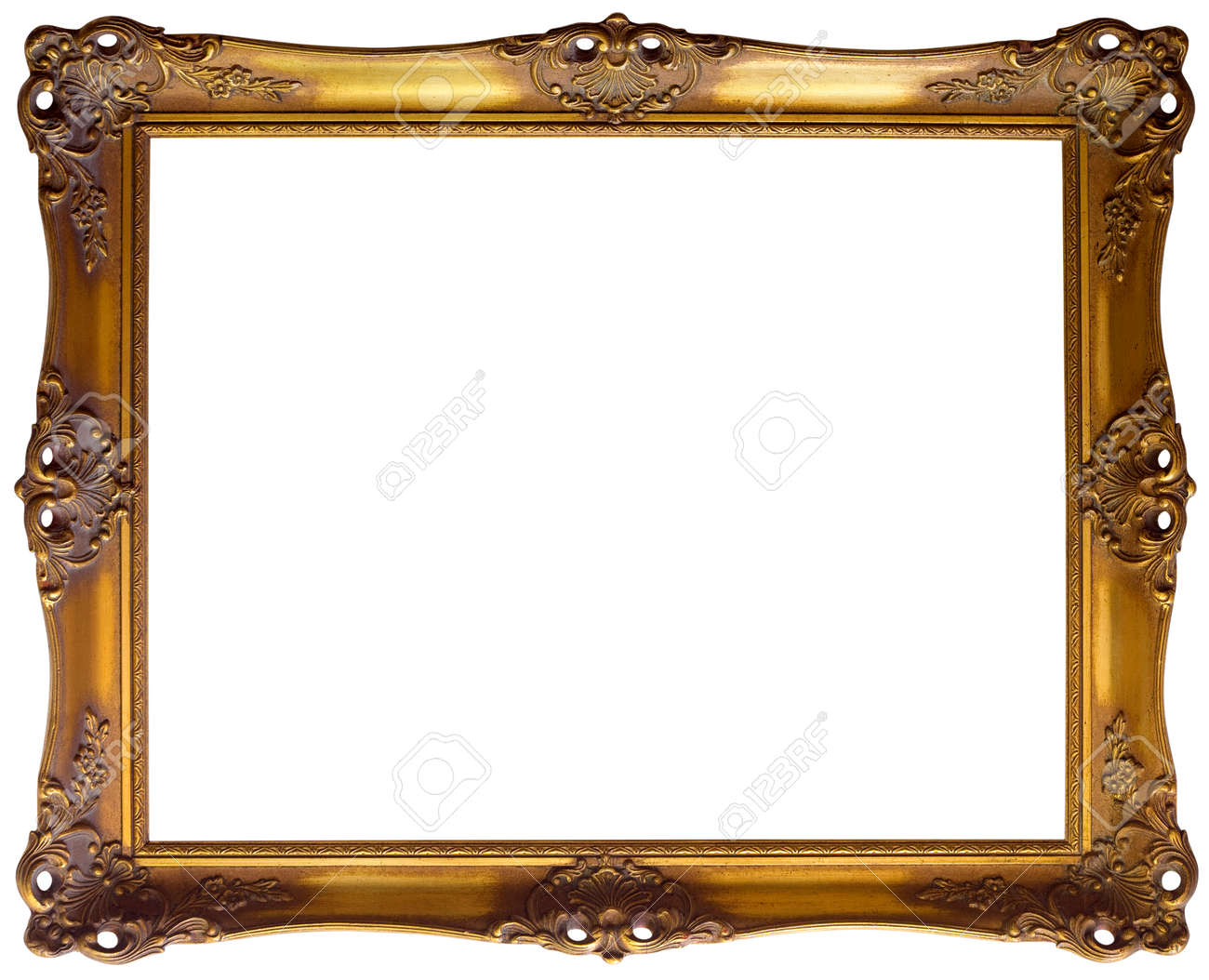 ornate golden baroque frame clipping path stock photo picture and
