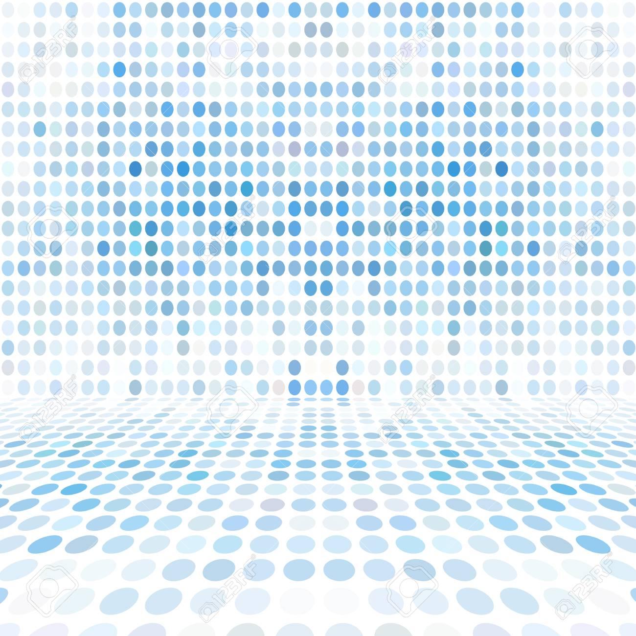 Blauer Punkt-leerer Perspektiven-Digital-Raum-Wand-Raum Lizenzfreie ...