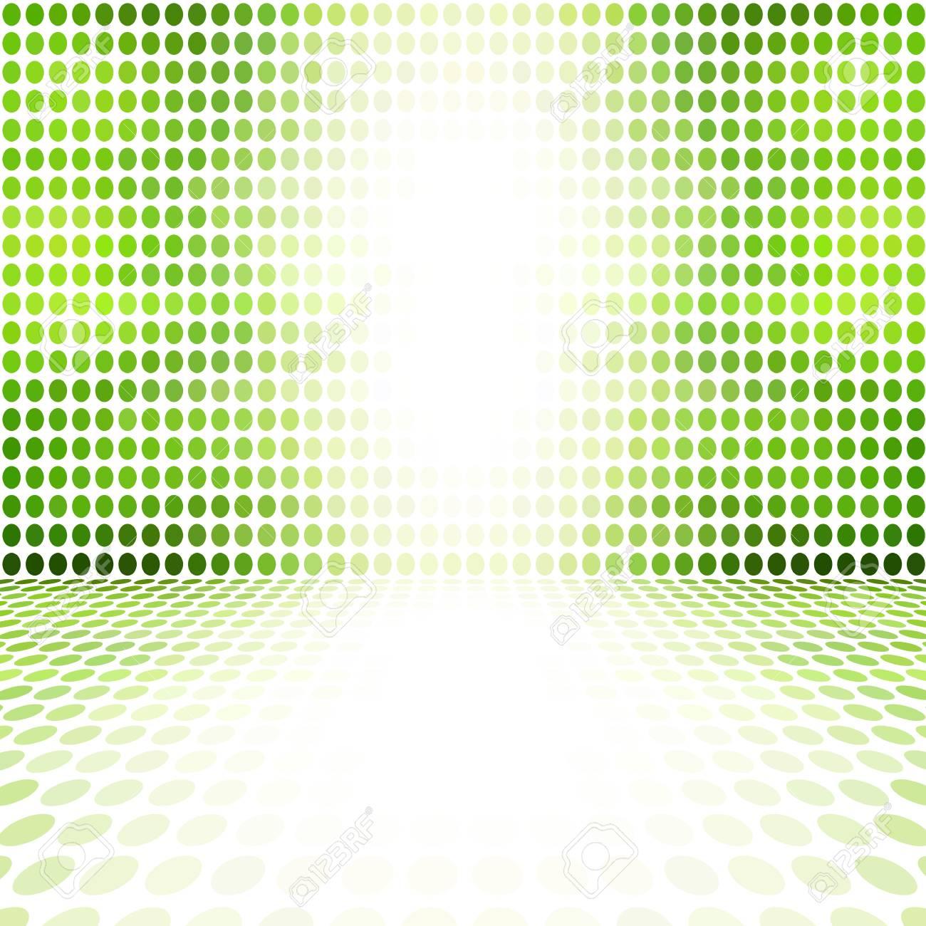 Grüner Punkt-leerer Perspektiven-Digital-Raum-Wand-Raum Lizenzfreie ...