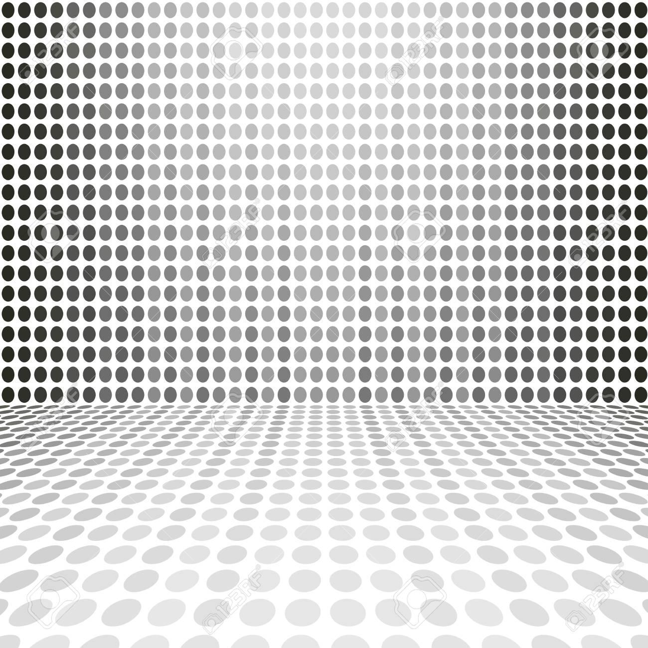 Pièce De Mur D Espace De Digital De Point Blanc Gris Vide De Perspective
