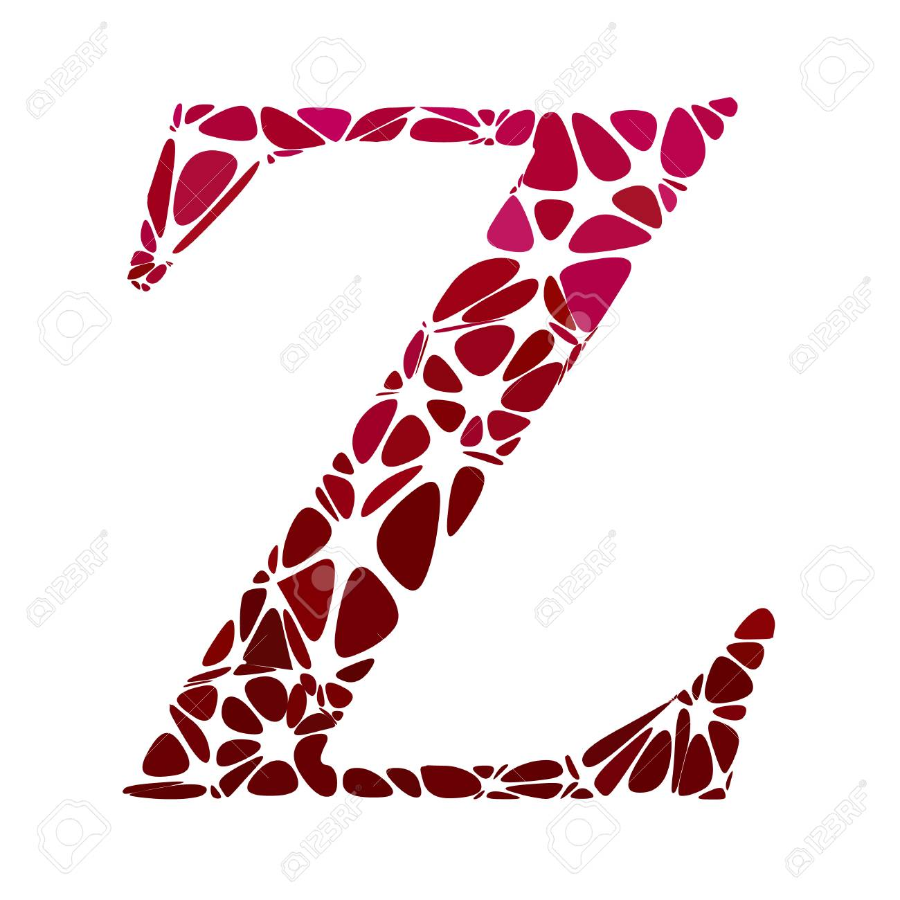 Red Alphabet z Cell Style, Creative Design Templates