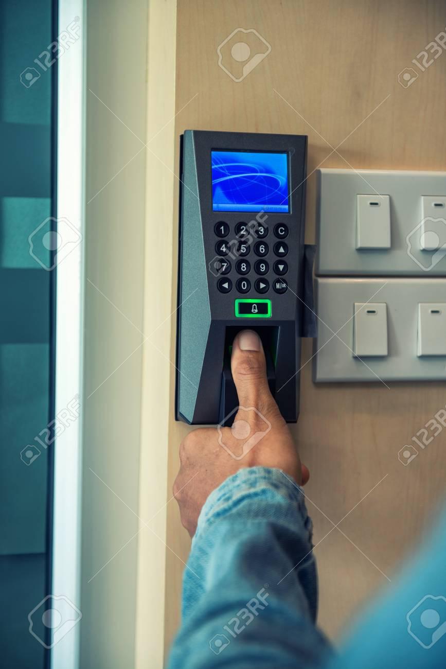 Finger print scan for unlock door security system Stock Photo - 84342603 & Finger Print Scan For Unlock Door Security System Stock Photo ...
