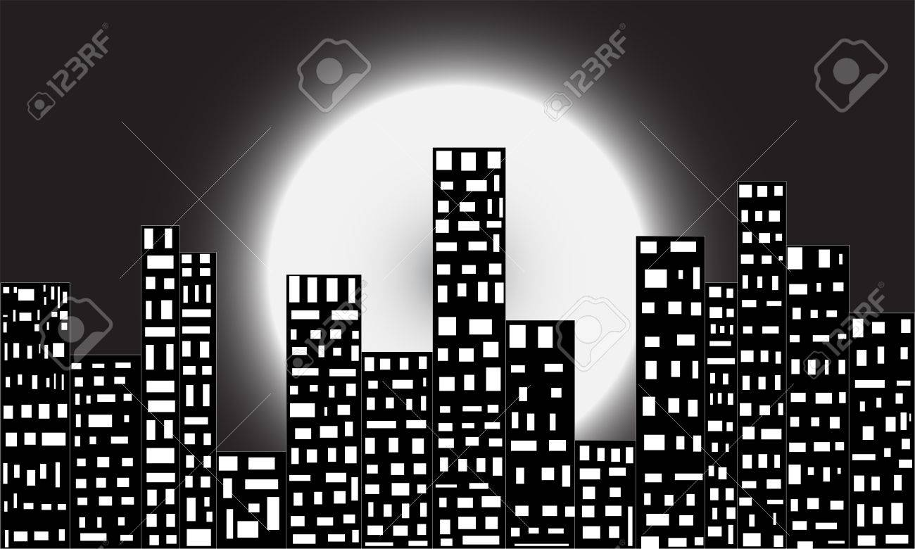 It is a picture of a busy city at dark night, beautified by only electric light and moon. Stock Photo - 13165953