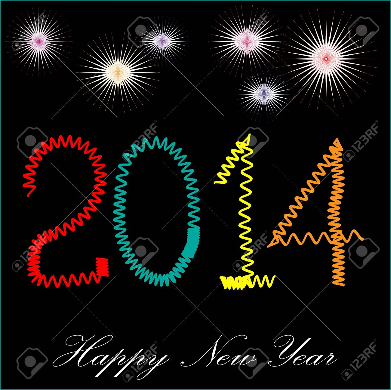 It is photo of celebration of coming new year 2014, created in illustrator CS5  Individual layer are created for easy use Stock Vector - 18302446