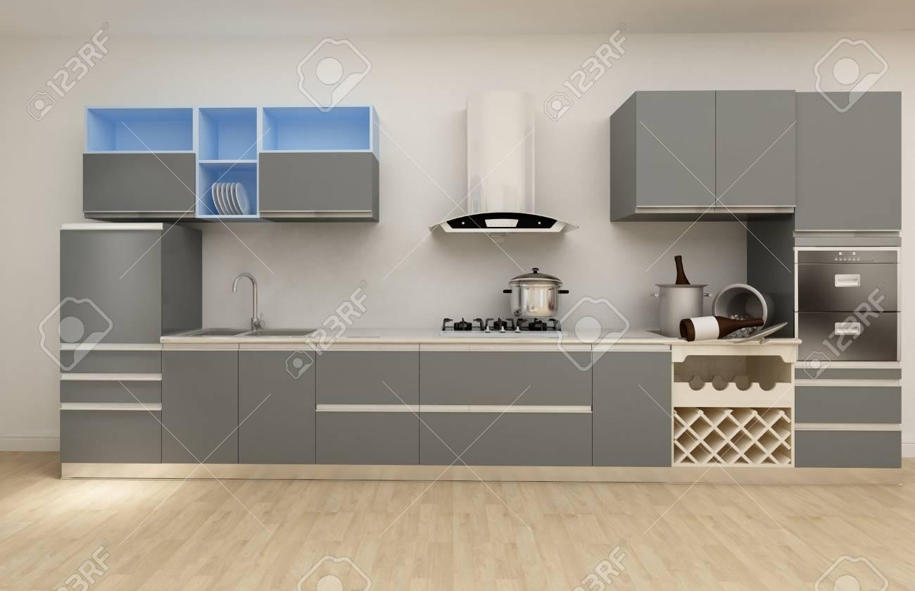 Fantastisch Küche Aufkantung Mit Eichenschränken Und Geräten Weiß ...