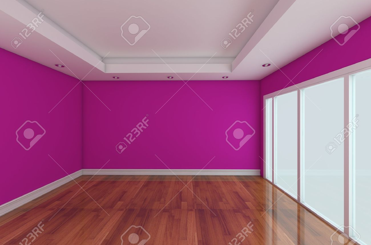 Empty Room decorated color wall and wood floor with glass doors Stock Photo - 11465590