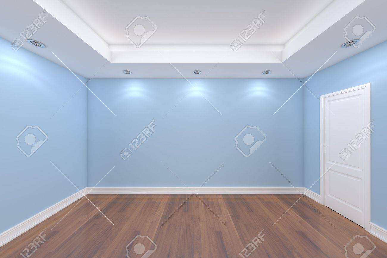 Home interior rendering with empty room color wall and decorated door with wooden floors stock