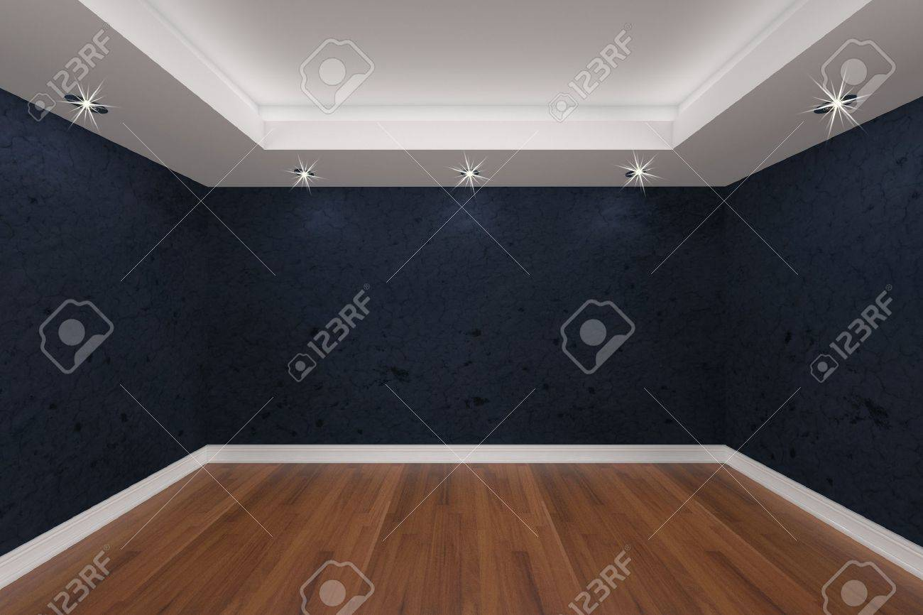 Home interior rendering with empty room color grunge wall and decorated with wooden floors. Stock Photo - 11862931