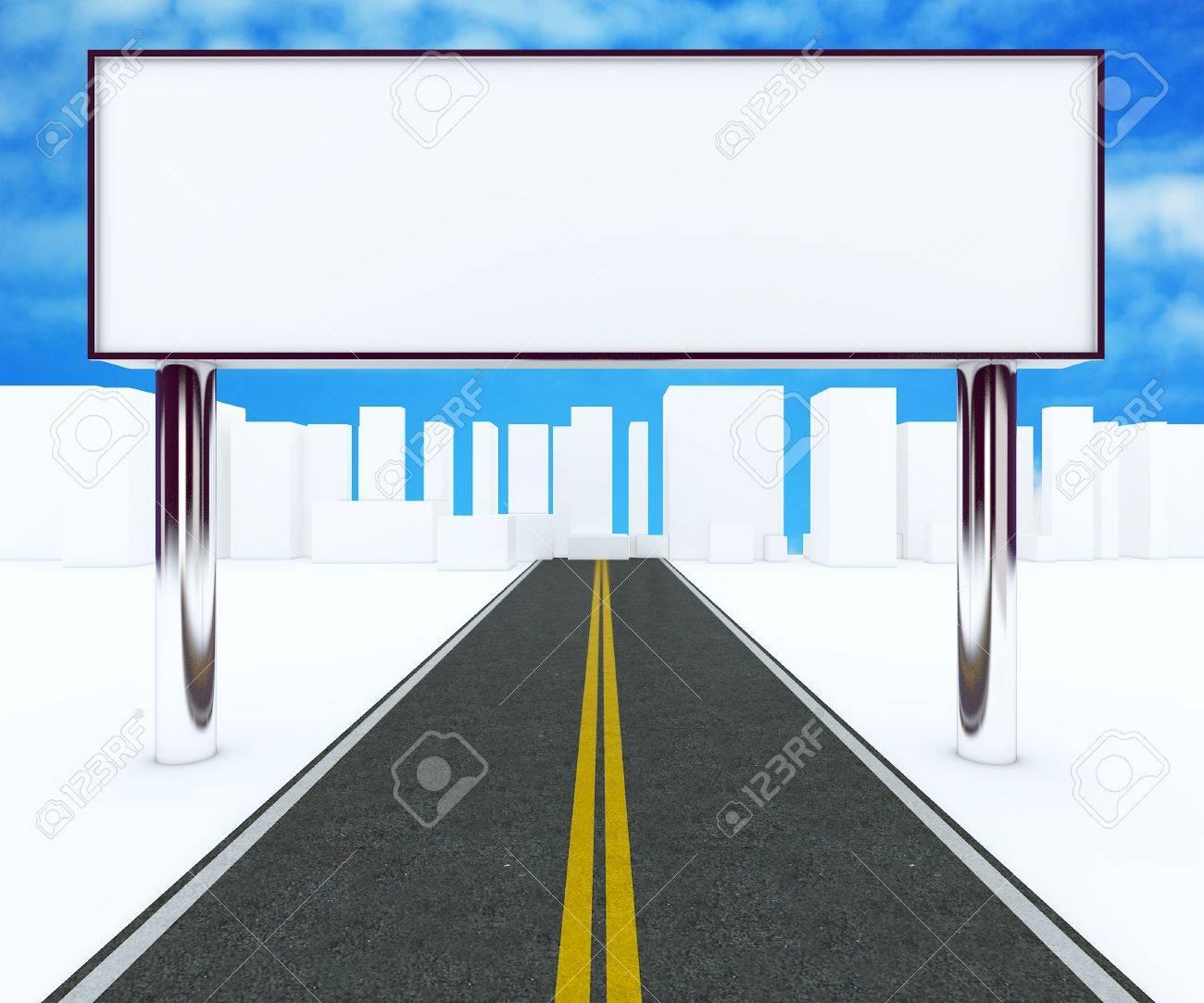 foto de archivo las vallas en el camino de la ciudad la pantalla en blanco el cuadro nuevo diseo de aluminio marco de plantilla para el trabajo de