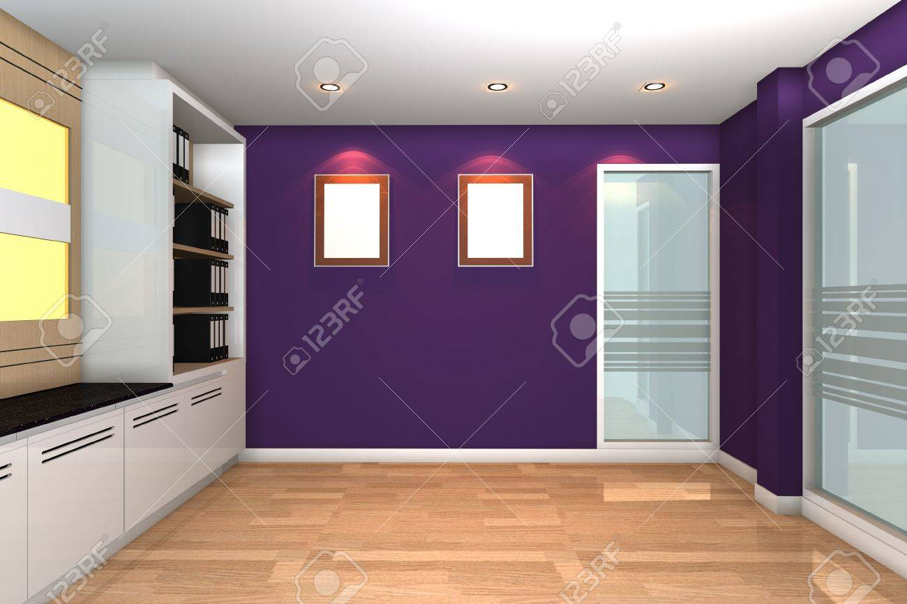 Empty interior for modern business office with purple wall. Stock Photo - 12054576