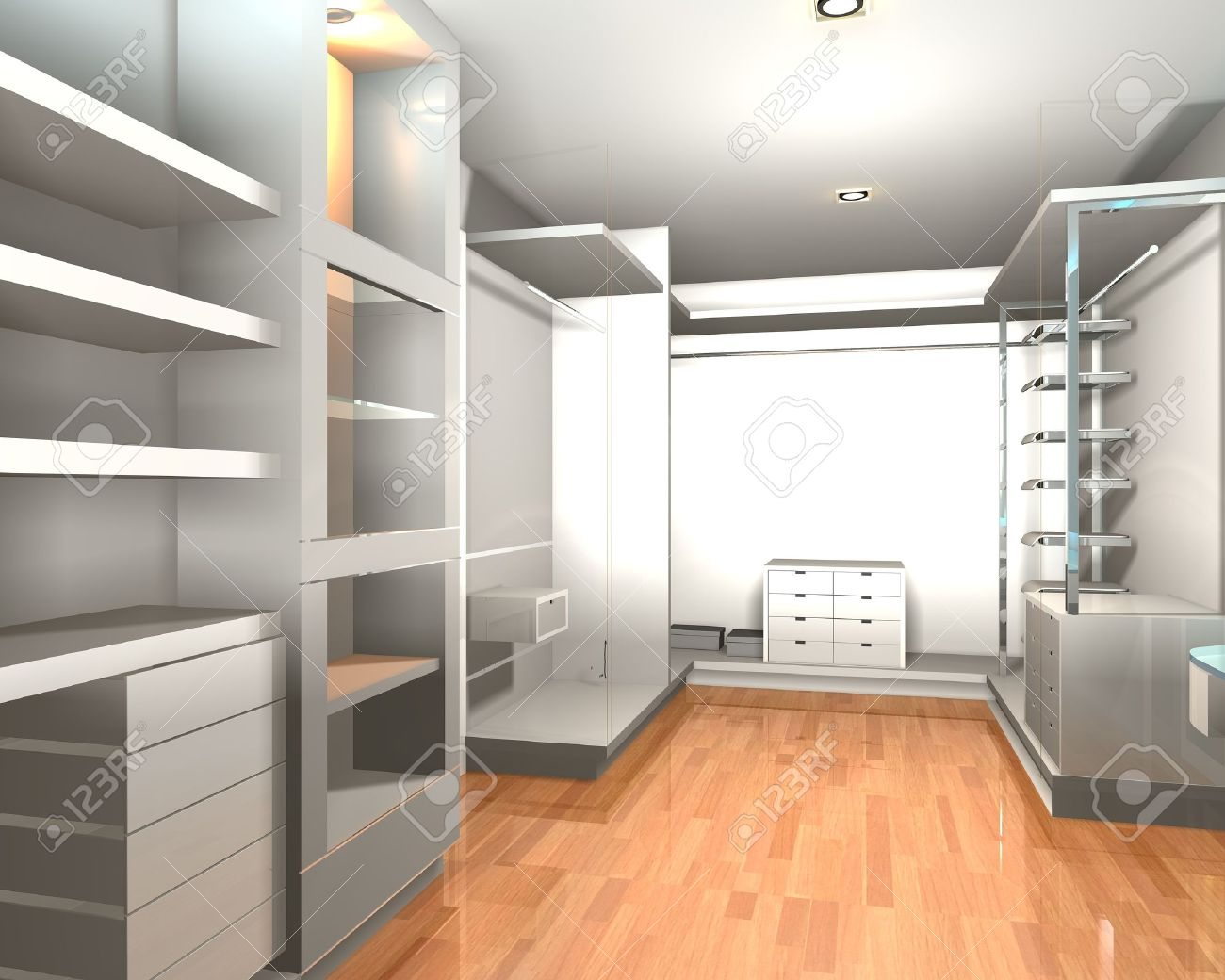 empty walk in closet chandelier empty interior modern room for walk in closet with shelves and white wall stock photo interior modern room for walk in closet with shelves and