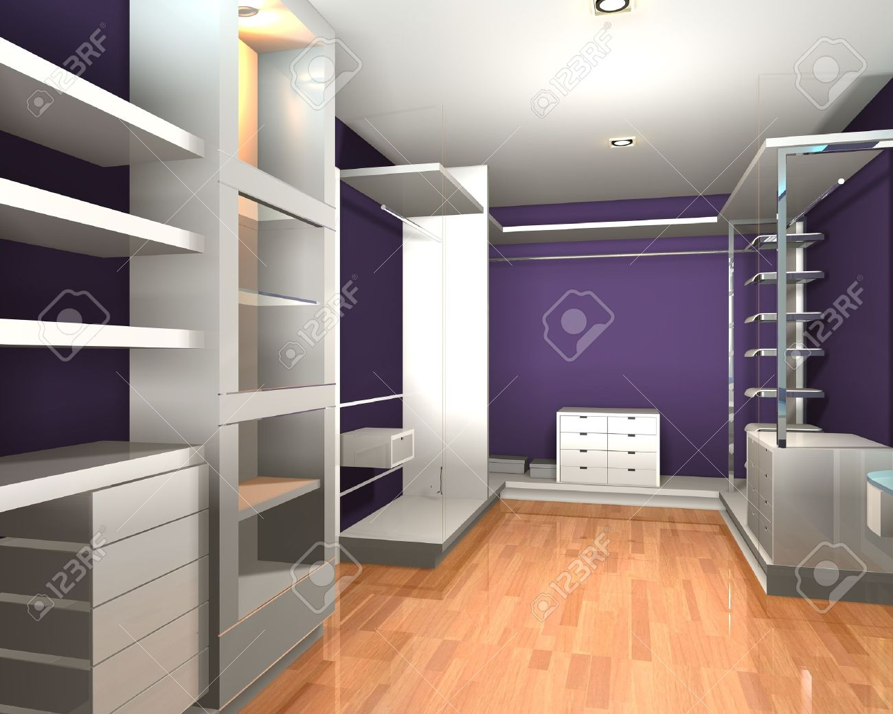 Empty interior  modern room for walk in closet with shelves and purple wall. Stock Photo - 12203439