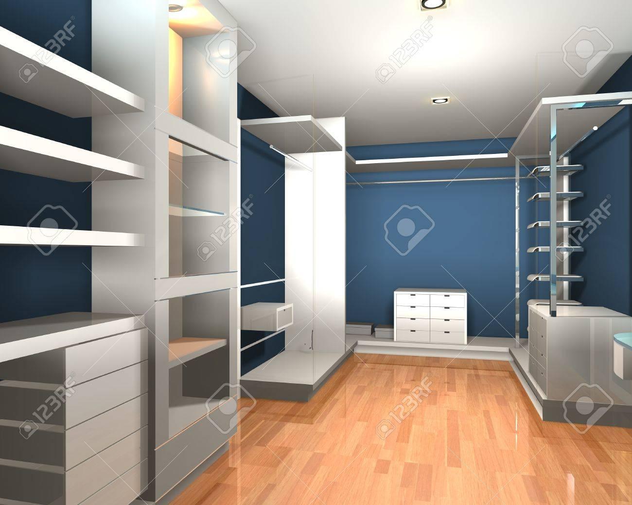 Leere Interieur Moderner Raum Für Begehbaren Kleiderschrank Mit ...