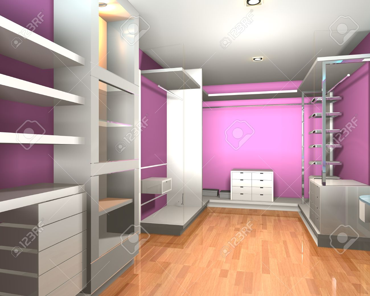 empty walk in closet. Empty Interior Modern Room For Walk In Closet With Shelves And Pink Wall. Stock Photo O