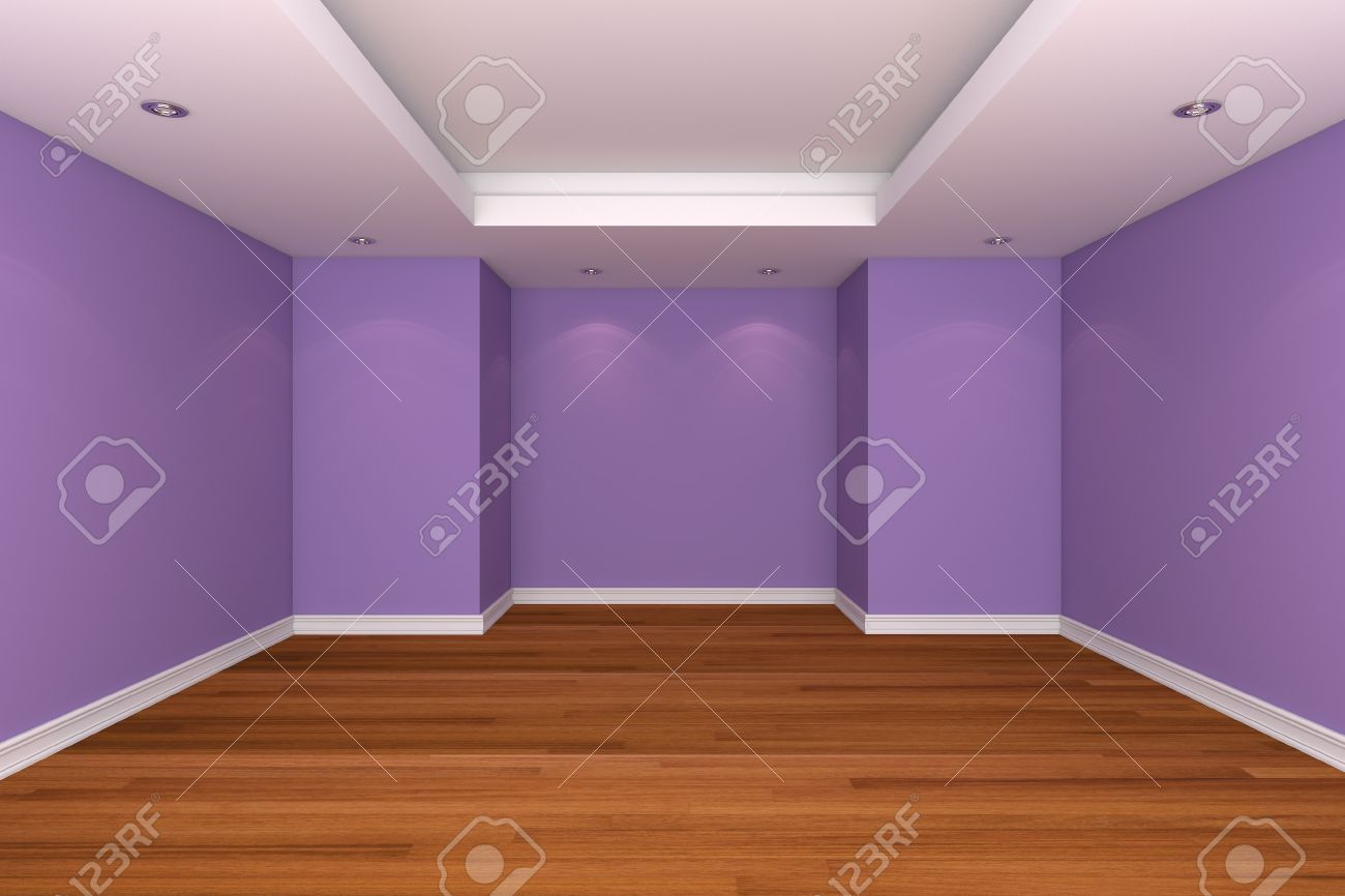 home interior rendering with empty room decorate purple color