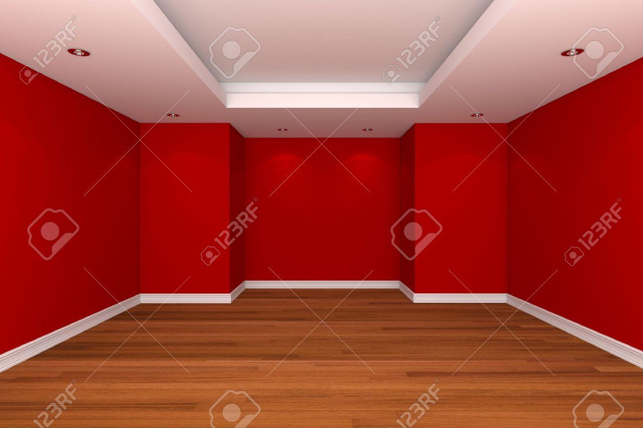 Home interieur rendering met lege kamer te versieren rode kleur ...