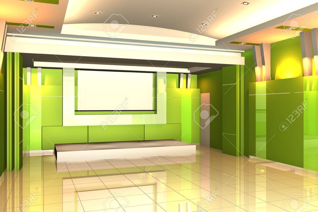 Empty Room For Interior Seminar Room Color Green Wall With Tile ...
