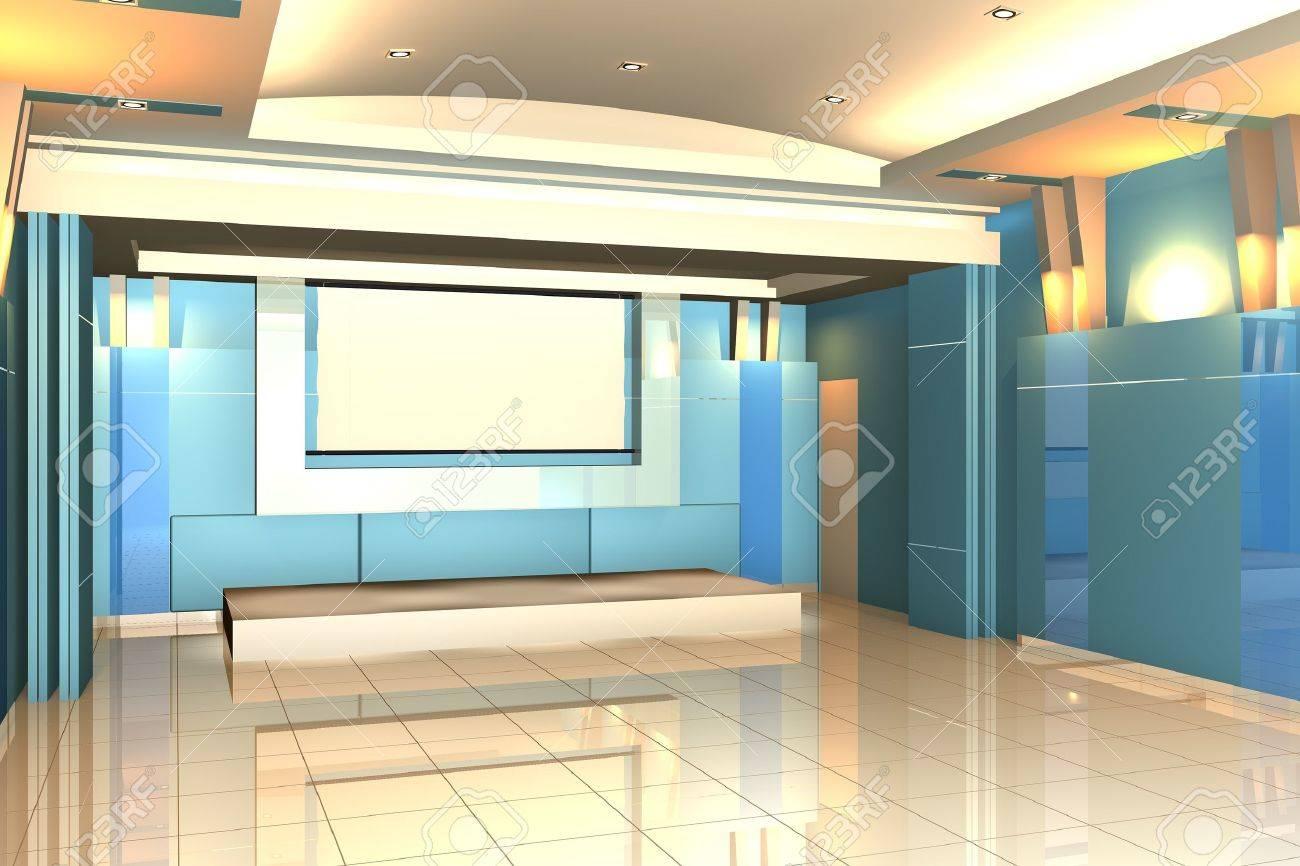chambre vide pour salle de séminaire mur intérieur de couleur bleu