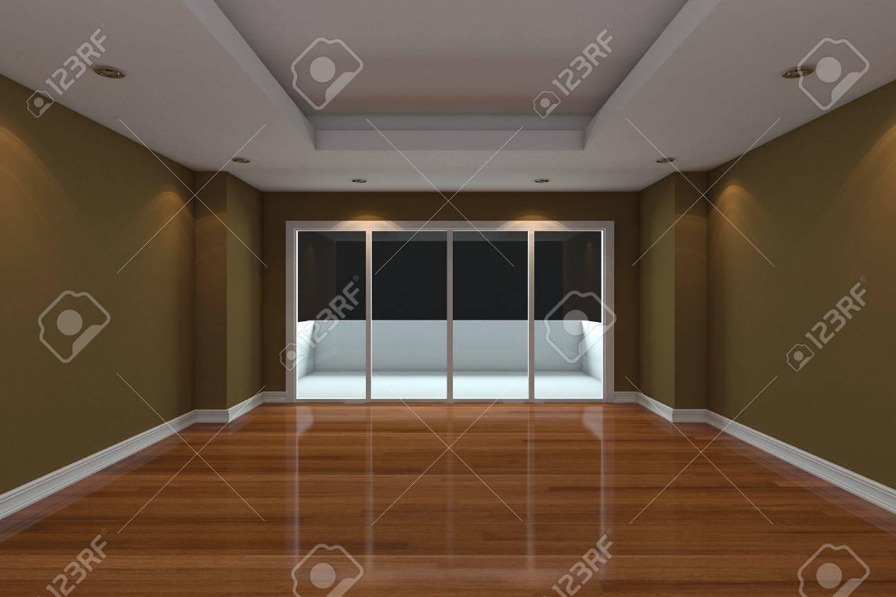Lege kamer ingericht bruine muur en houten vloer met glazen deuren ...