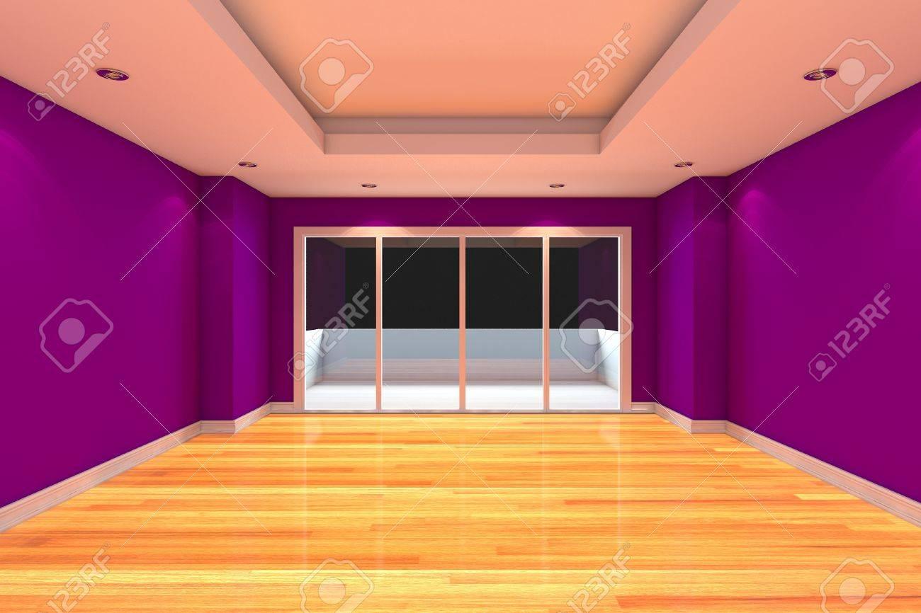 Empty Room Decoración De La Pared Púrpura Y Piso De Madera Con Puertas De Cristal Y Terraza