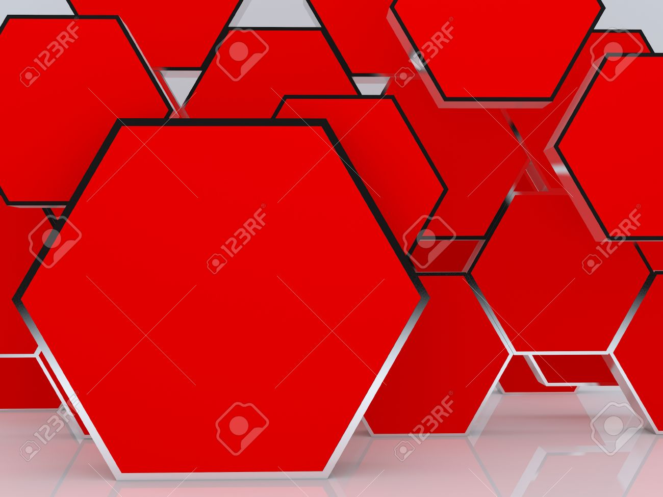 3D blank abstract red hexagon box display new design aluminum frame template for design work, on white background. Stock Photo - 12655795