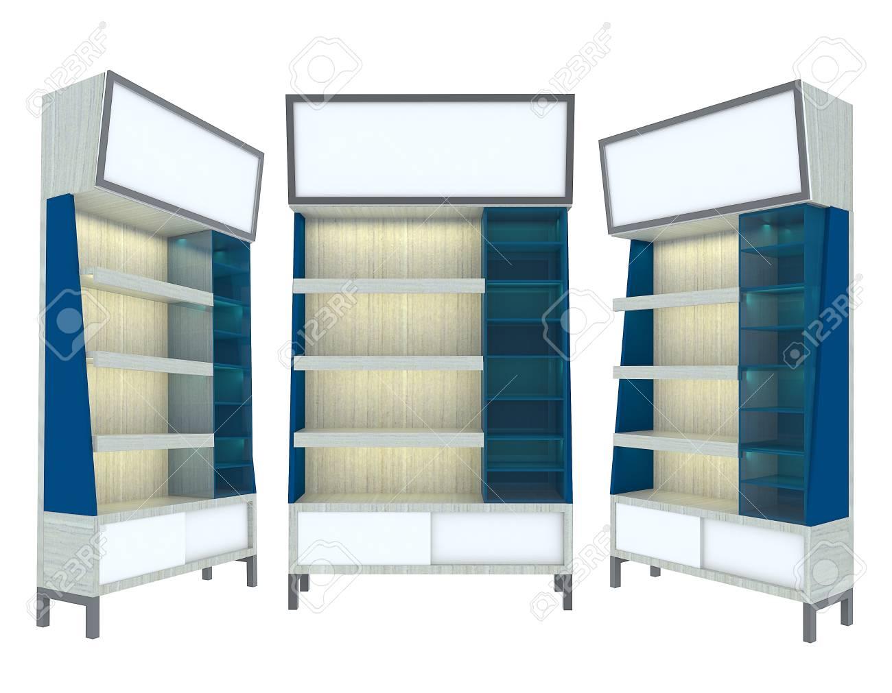 Empty wood Shelf blue modern design for Ad Stock Photo - 12655826