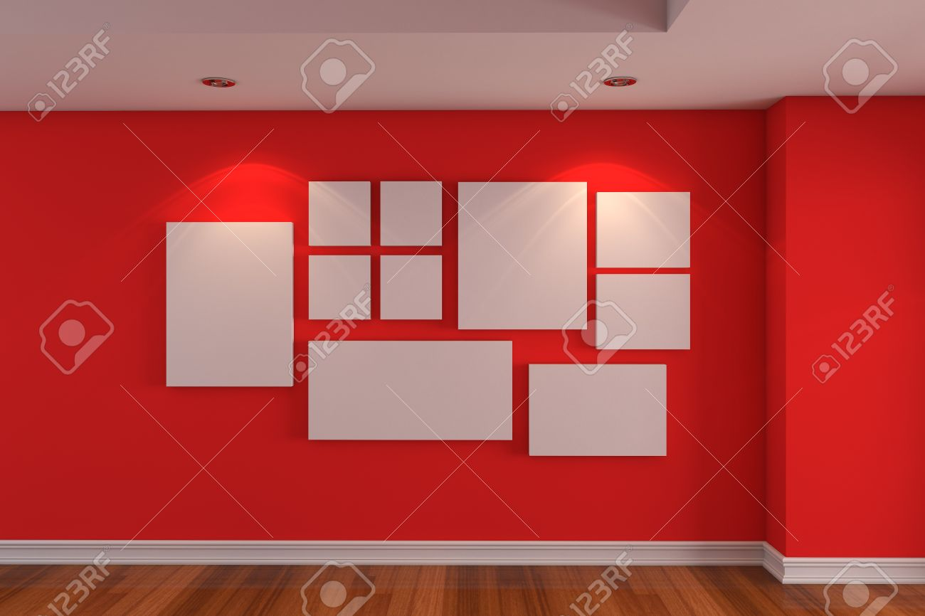 Lege Binnenruimte Gallery De Foto Op De Rode Muur Ingericht Kleur ...