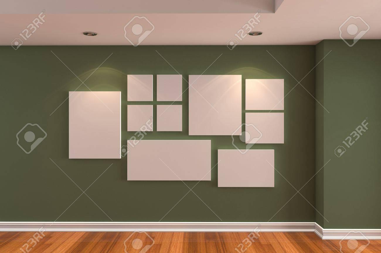 Vider Galerie Intérieur De La Chambre La Photo Sur Le Mur Vert Foncé
