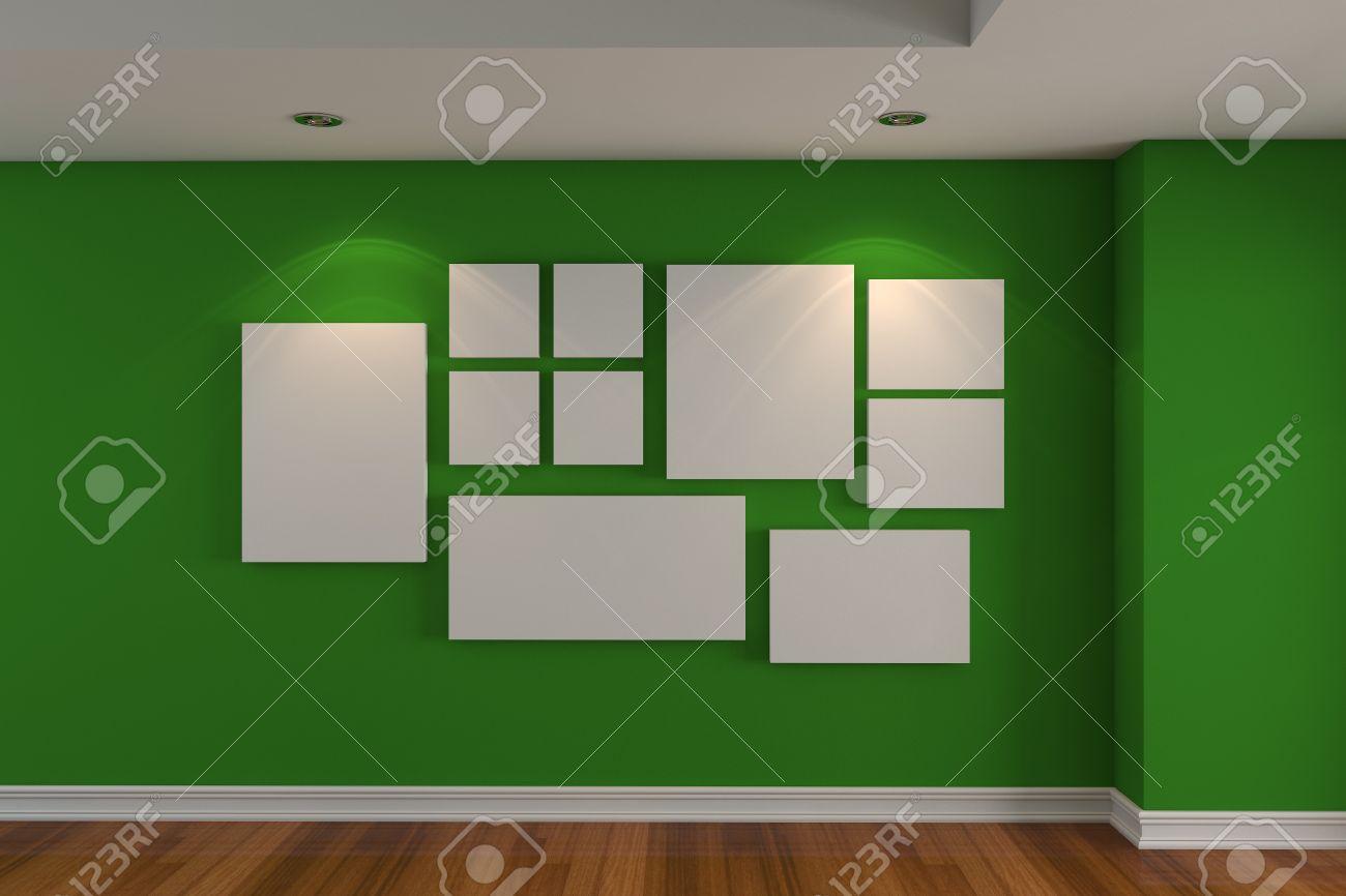 Lege kamer interieur galerie de afbeelding op de groene muur ...