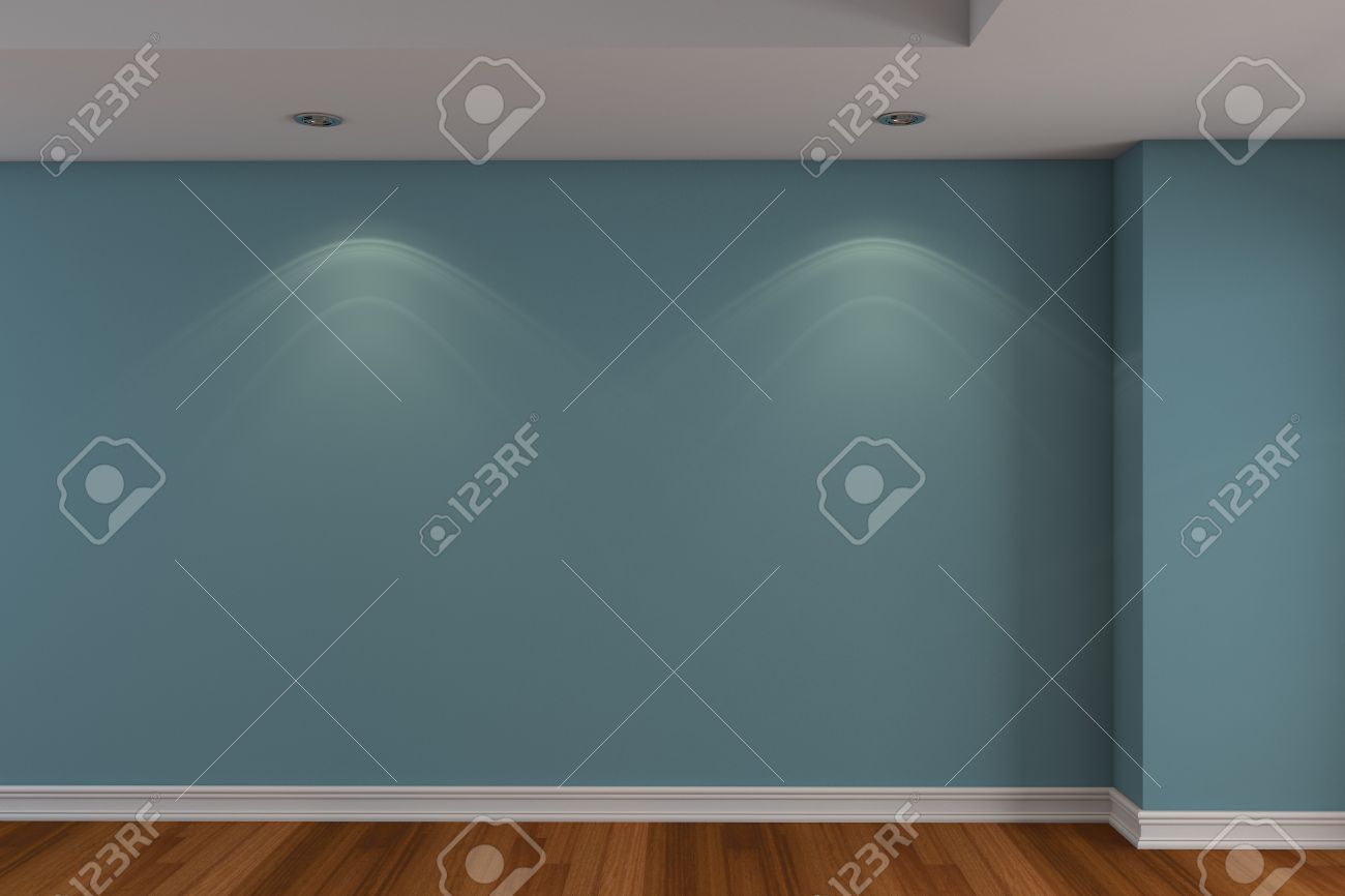 Home Interior Rendering With Empty Room Blue Color Wall And ...