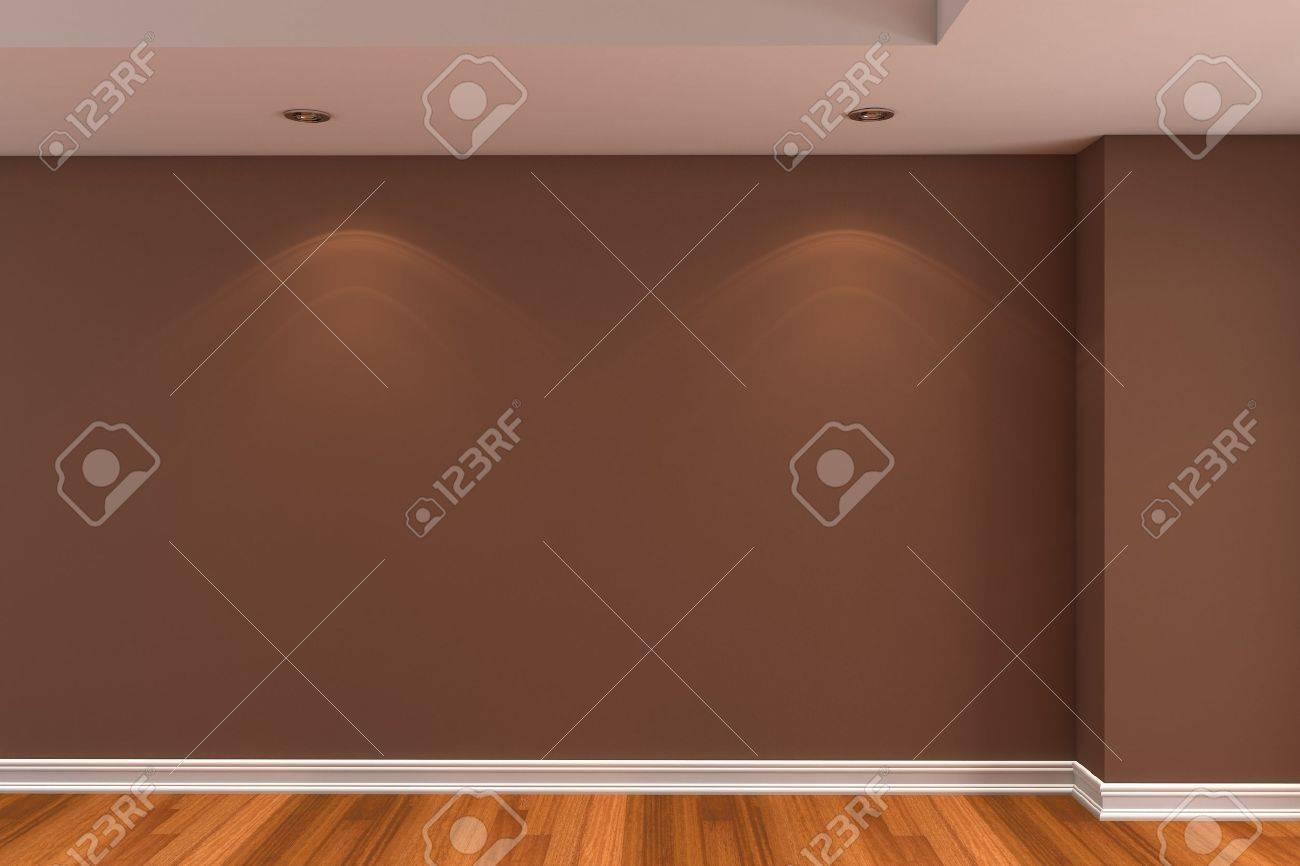 Home interieur rendering met lege kamer bruine kleur muur en ...
