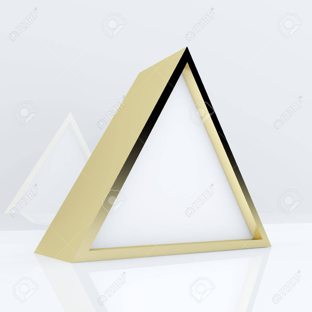 3d blank abstract white triangle box display new design gold frame template for design work